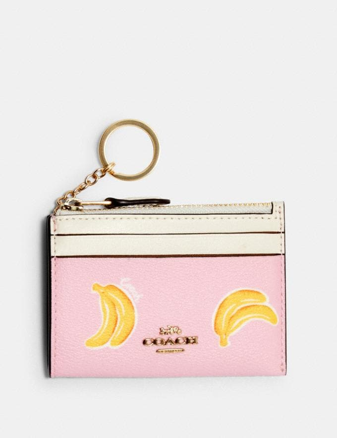 Coach Mini Skinny Id Case With Banana Print Im/Pink Lemonade Multi