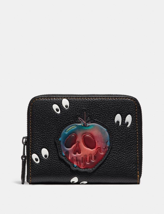 Coach Disney X Coach Small Zip Around Wallet With Spooky Eyes Print Black/Black Copper Women Wallets Small Wallets