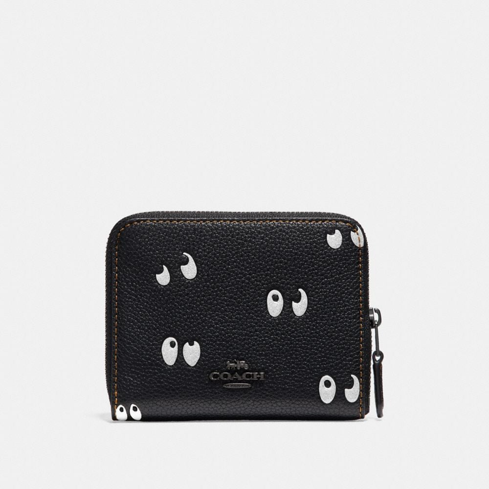 Coach Disney X Coach Small Zip Around Wallet With Spooky Eyes Print Alternate View 1