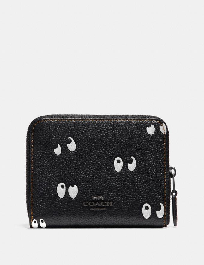 Coach Disney X Coach Small Zip Around Wallet With Spooky Eyes Print Black/Black Copper Women Wallets Small Wallets Alternate View 1
