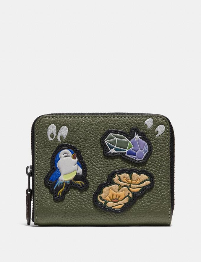 Coach Disney X Coach Small Zip Around Wallet With Spooky Eyes Print Army Green/Black Copper Women Small Leather Goods Small Wallets