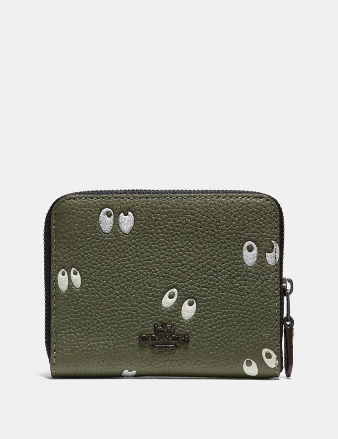 Coach Disney X Coach Small Zip Around Wallet With Spooky Eyes Print Army Green/Black Copper Women Small Leather Goods Small Wallets Alternate View 1