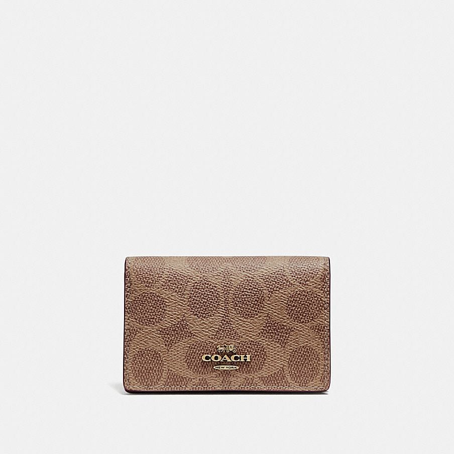 COACH: Business Card Case in Signature Canvas