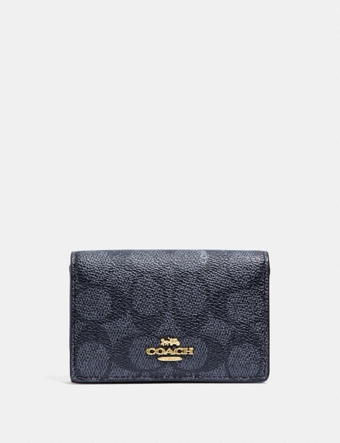 Coach Business Card Case in Signature Canvas Charcoal/Midnight Navy/Light Gold New Featured Online Exclusives