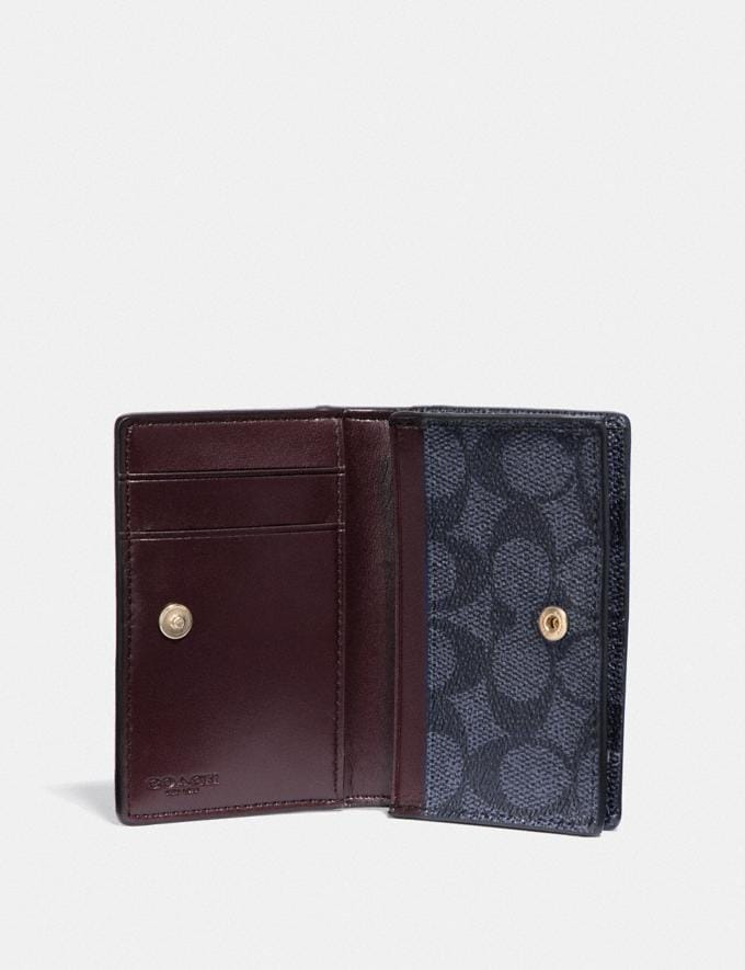 Coach Business Card Case in Signature Canvas Charcoal/Midnight Navy/Light Gold New Featured Online Exclusives Alternate View 1