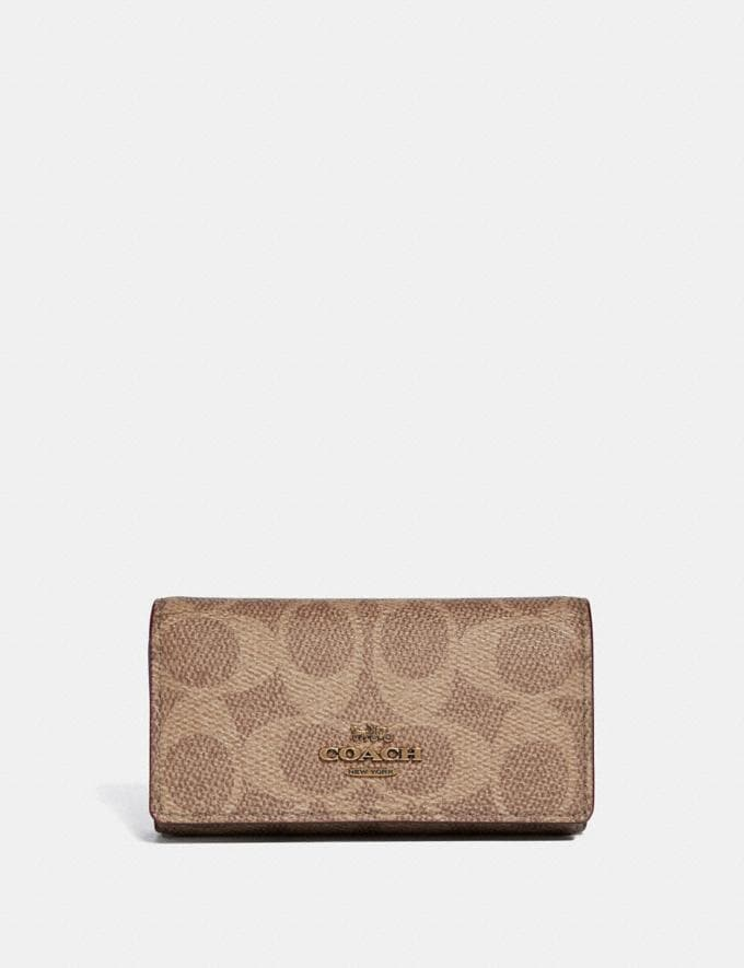 Coach Six Ring Key Case in Signature Canvas Tan/Rust/Brass Women Edits Your Life, Your Coach