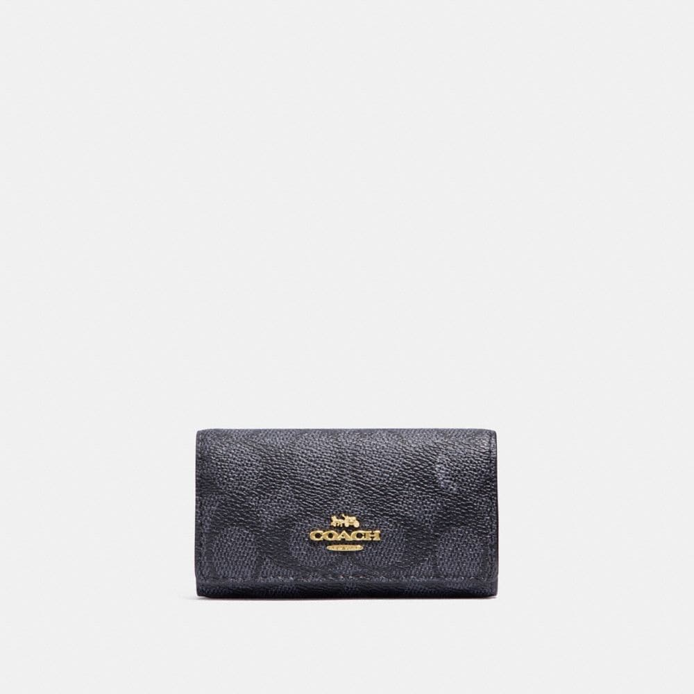 Coach Six Ring Key Case In Signature Canvas in Charcoal/Midnight Navy/Light Gold