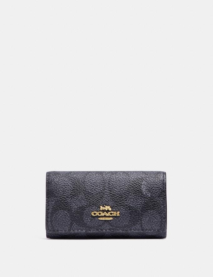 Coach Six Ring Key Case in Signature Canvas Charcoal/Midnight Navy/Light Gold Women Accessories Tech & Work