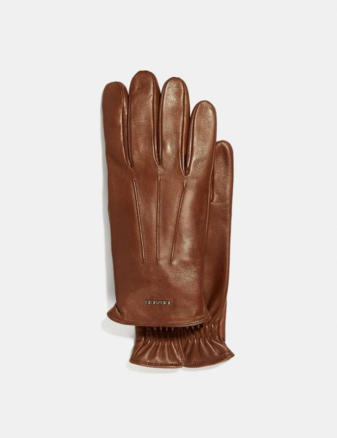 Coach Tech Napa Gloves Dark Saddle SALE Men's Sale Ready-to-Wear