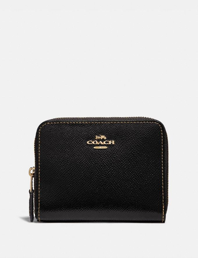 Coach Small Zip Around Wallet Black/Light Gold Women Small Leather Goods Small Wallets