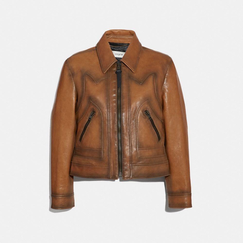 Coach Burnished Leather Jacket