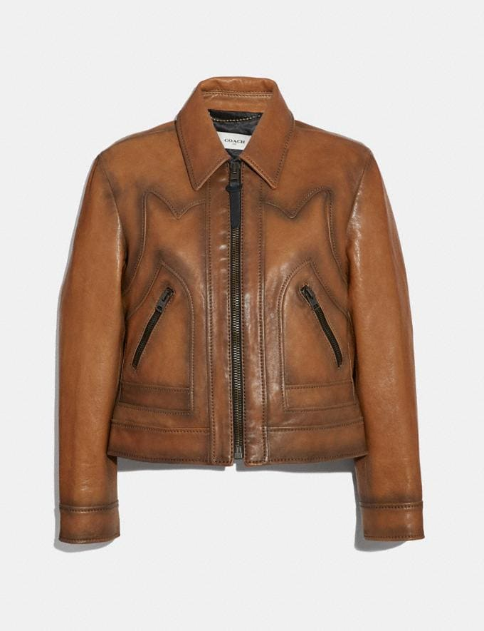 Coach Burnished Leather Jacket Fawn
