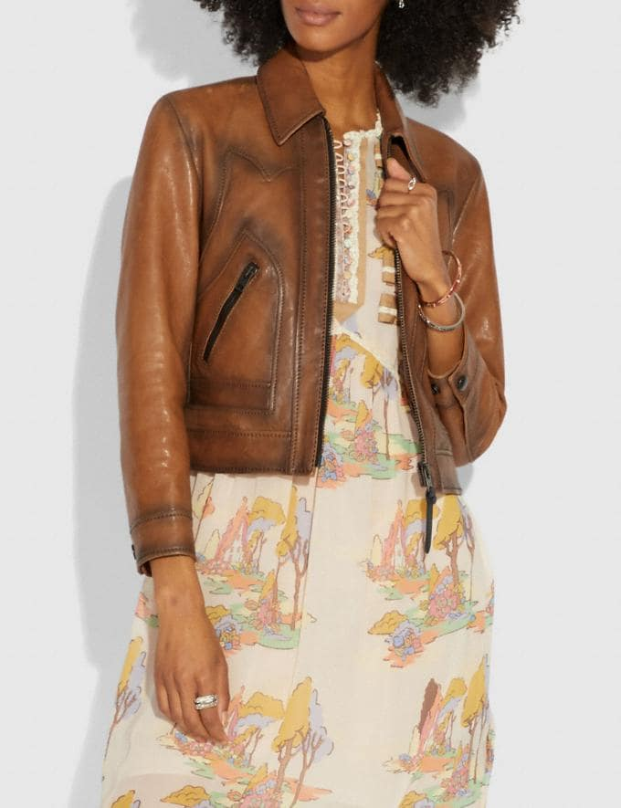 Coach Burnished Leather Jacket Fawn  Alternate View 1