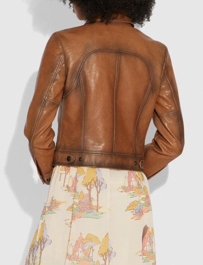 Coach Burnished Leather Jacket Fawn  Alternate View 2