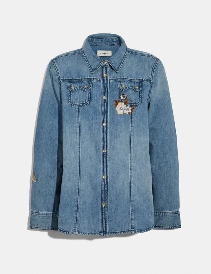 Coach Embellished Denim Shirt Blue