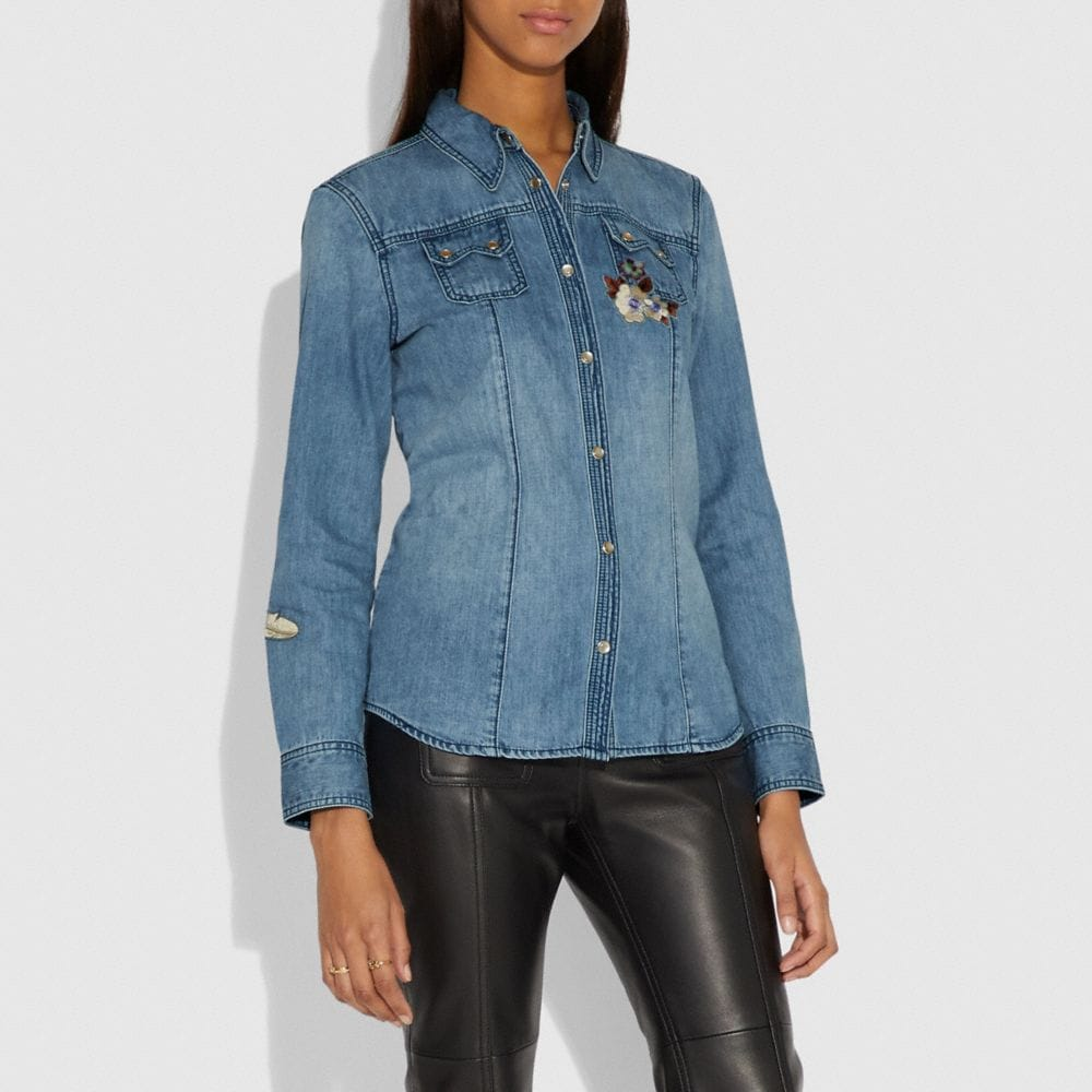 Coach Embellished Denim Shirt Alternate View 1