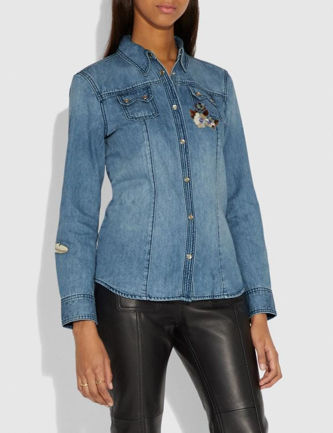 Coach Embellished Denim Shirt Blue  Alternate View 1
