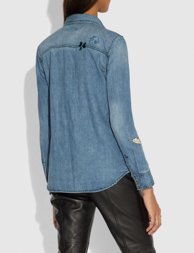 Coach Embellished Denim Shirt Blue  Alternate View 2