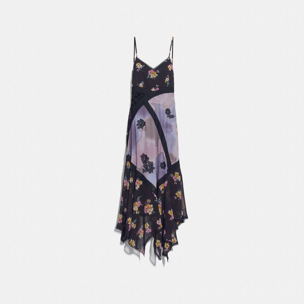 Mixed Print Slip Dress, Purple/Grey from COACH