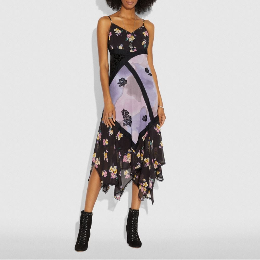 Coach Mixed Print Slip Dress Alternate View 1
