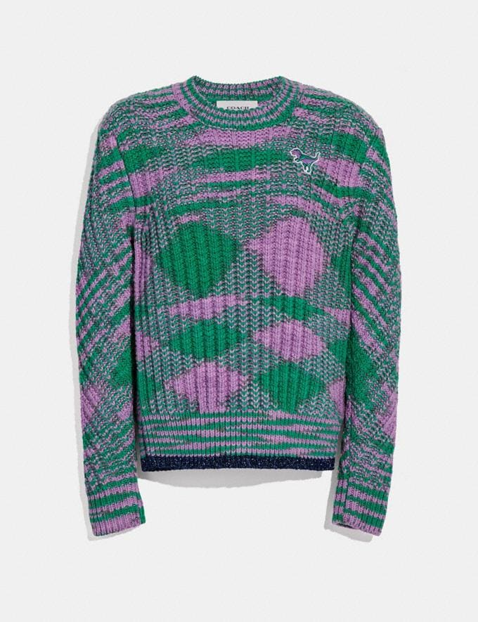 Coach Space Dye Crewneck Sweater Green Lilac  Alternate View 1