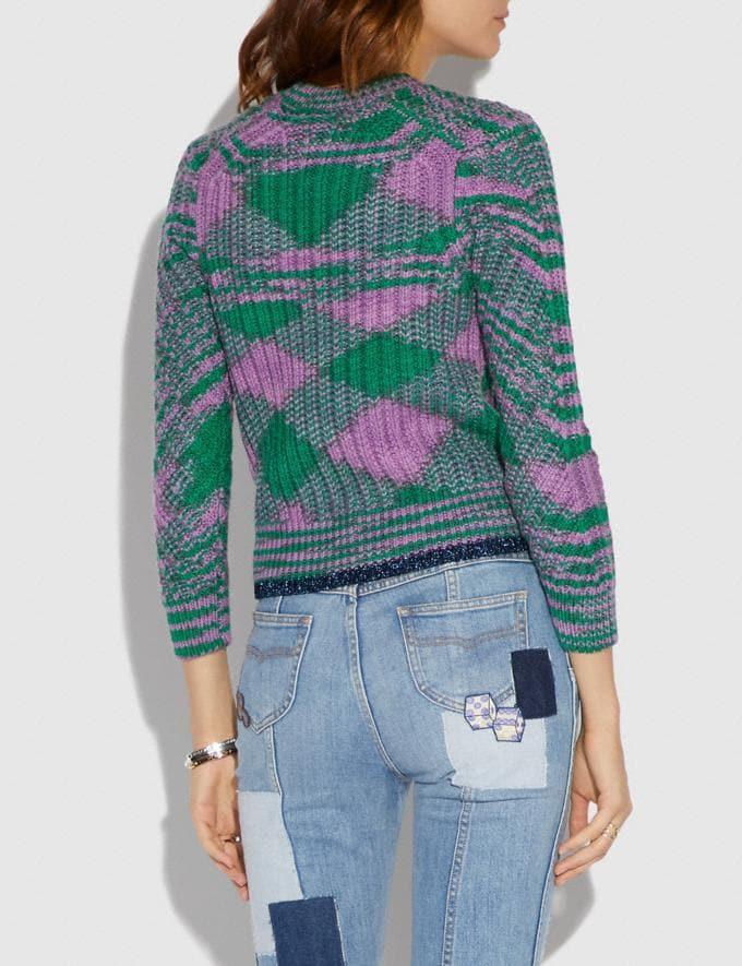 Coach Space Dye Crewneck Sweater Green Lilac  Alternate View 2