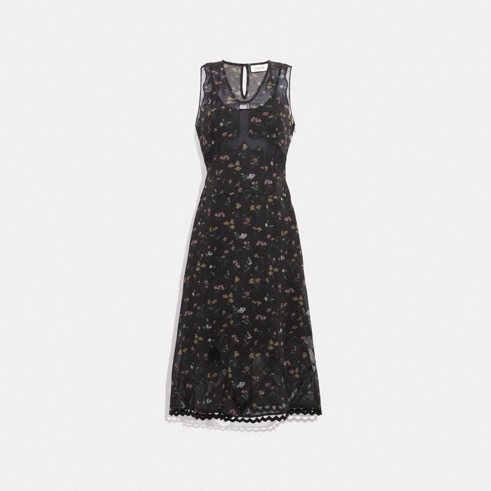WILDFLOWER PRINT SLEEVELESS DRESS