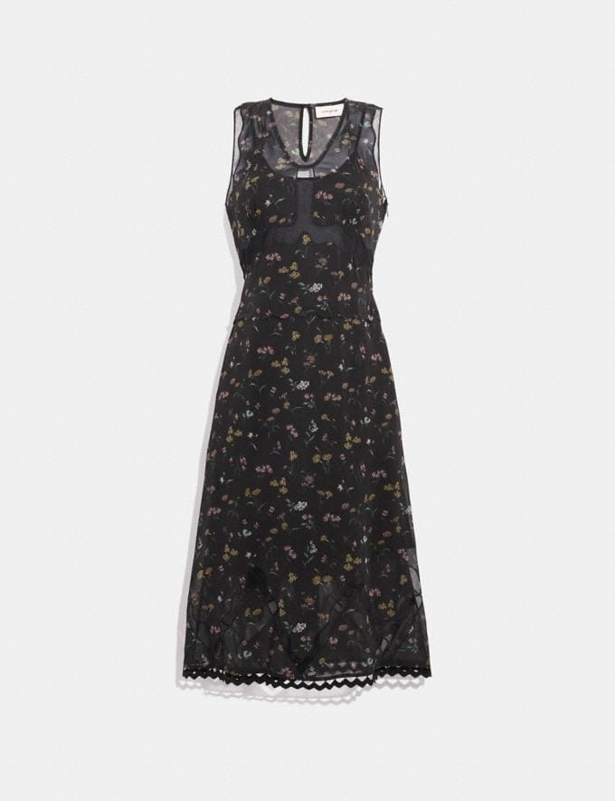 Coach Wildflower Print Sleeveless Dress Black Multi