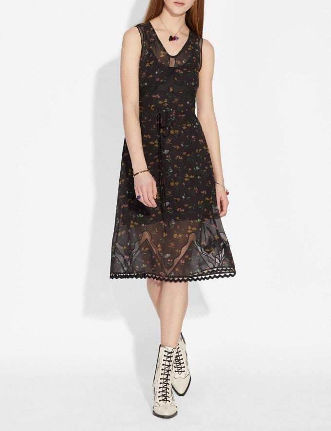 Coach Wildflower Print Sleeveless Dress Black Multi Staff Sale Alternate View 1