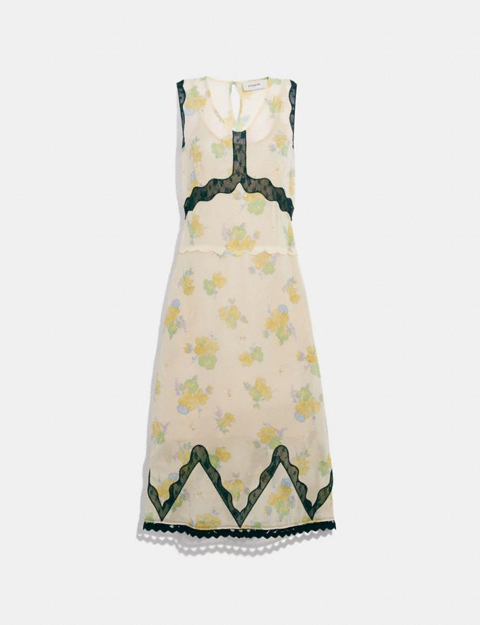 Coach Forest Floral Print Sleeveless Dress Cream