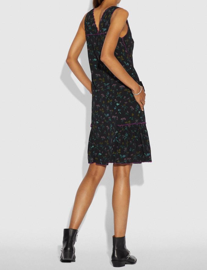Coach Wildflower Print Bow Dress Black Multi  Alternate View 2