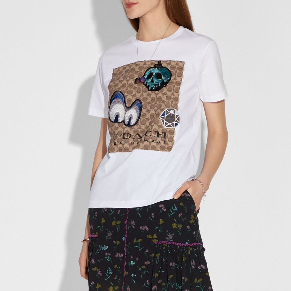 Coach Disney X Coach Signature T-Shirt With Patches Alternate View 1