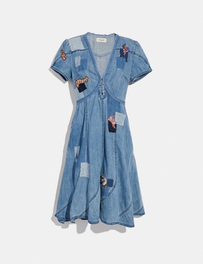 Coach Embellished Denim Dress Blue