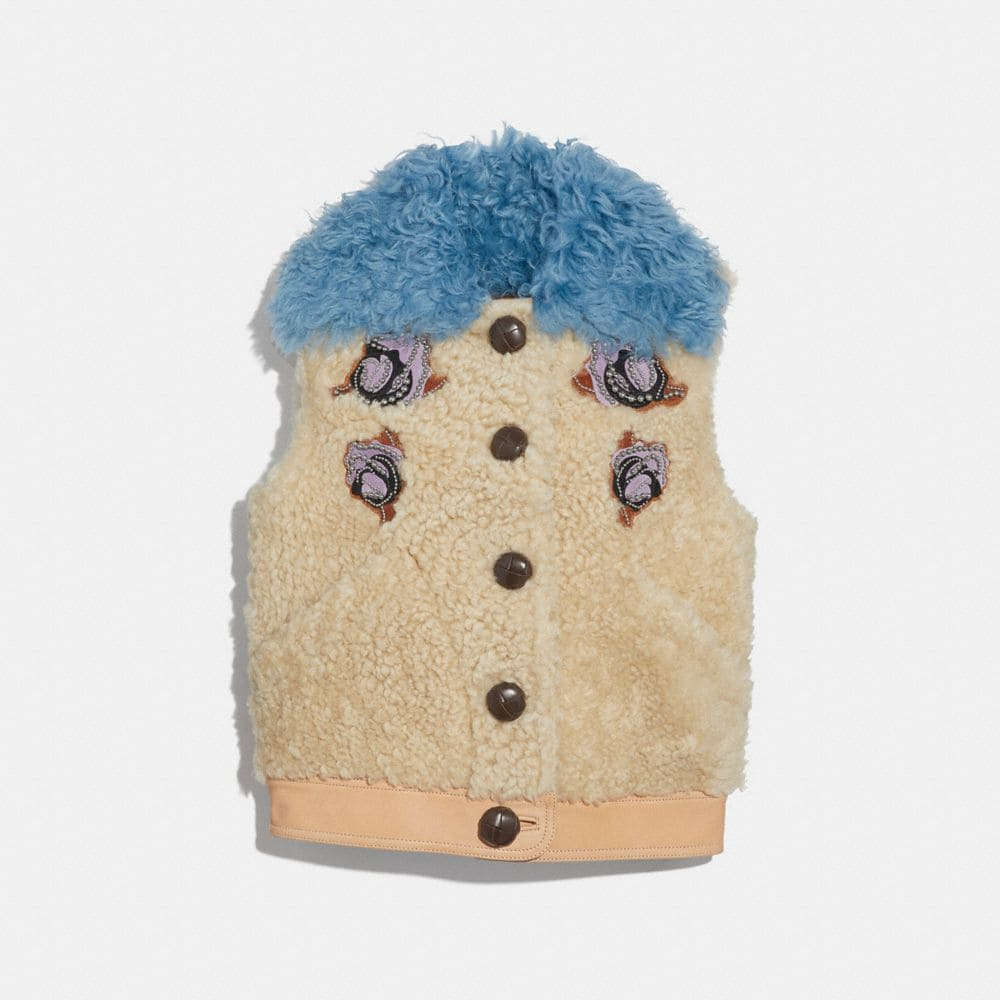 Coach Embellished Shearling Vest