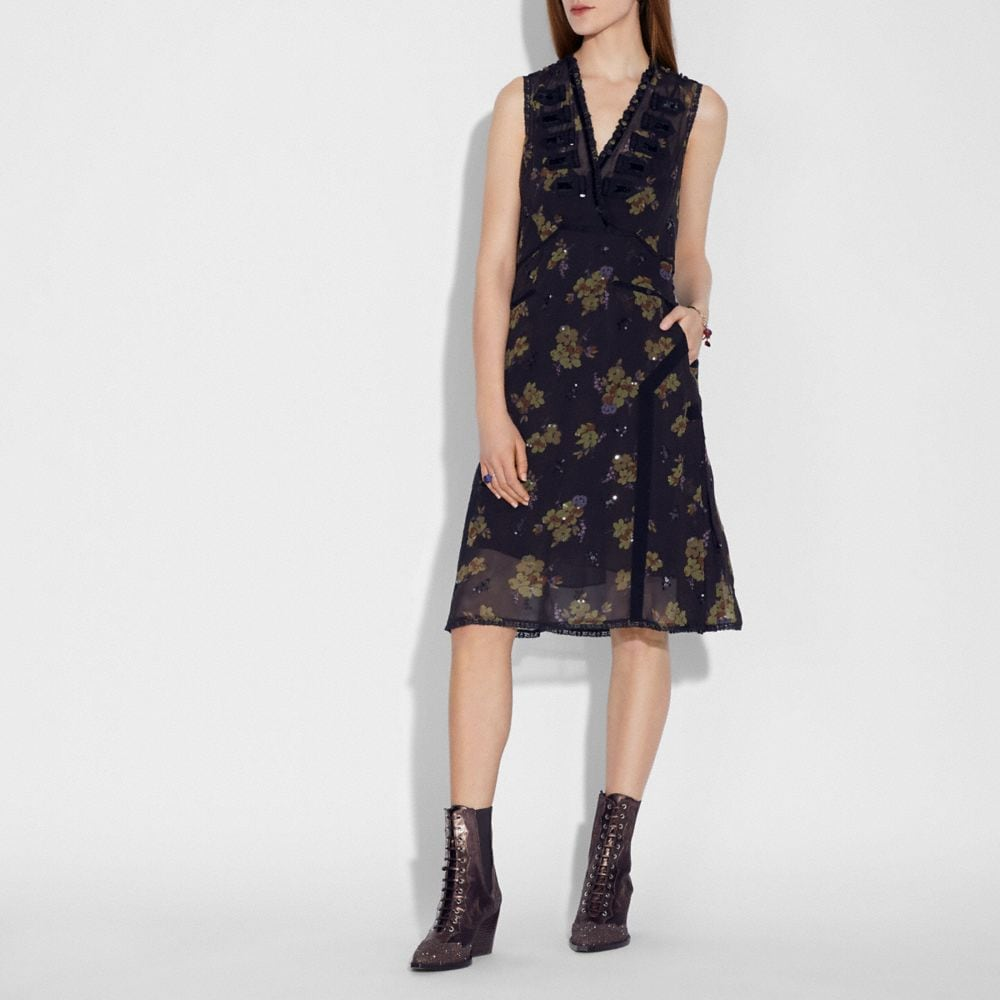 Coach Forest Floral Print Military Dress Alternate View 1