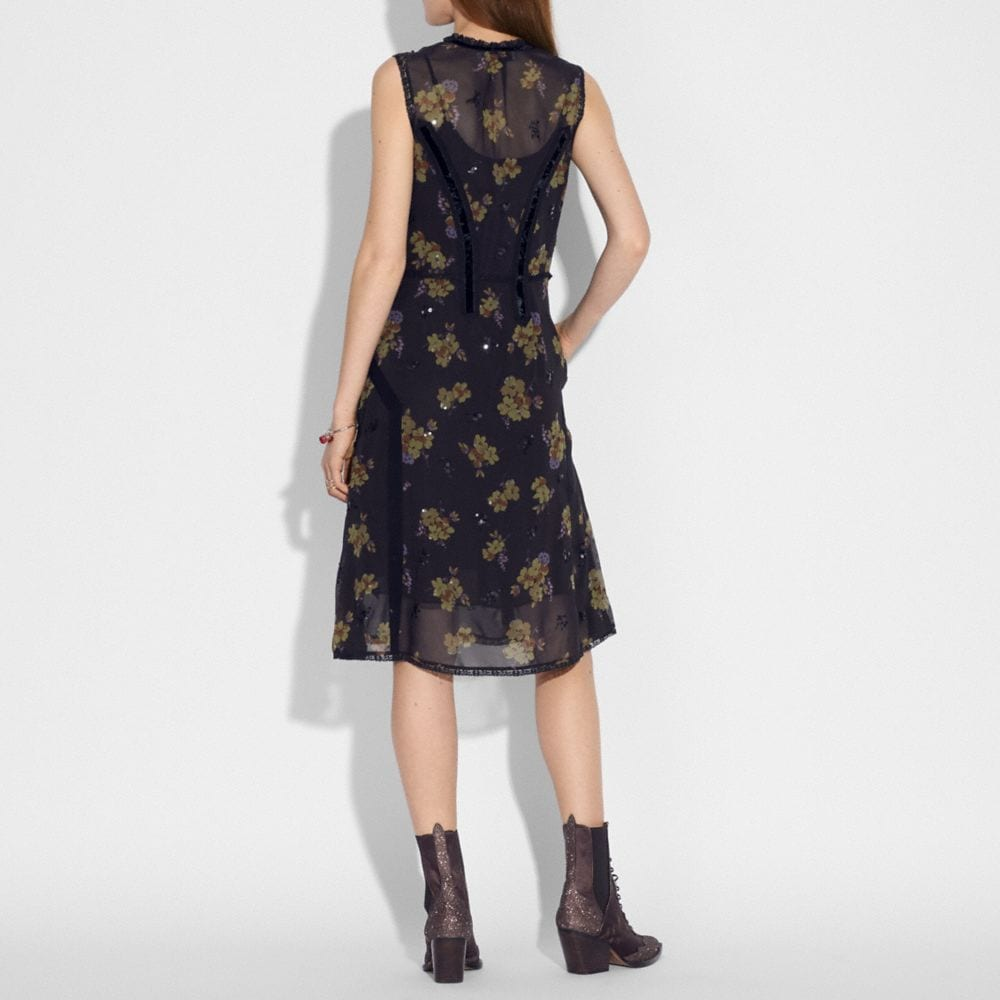 Coach Forest Floral Print Military Dress Alternate View 2