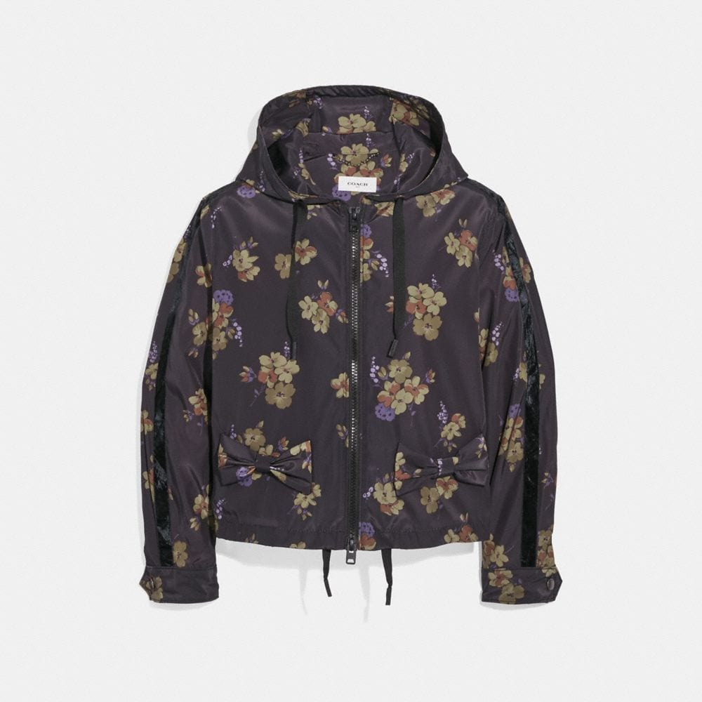 Coach Forest Floral Print Zip Hoodie
