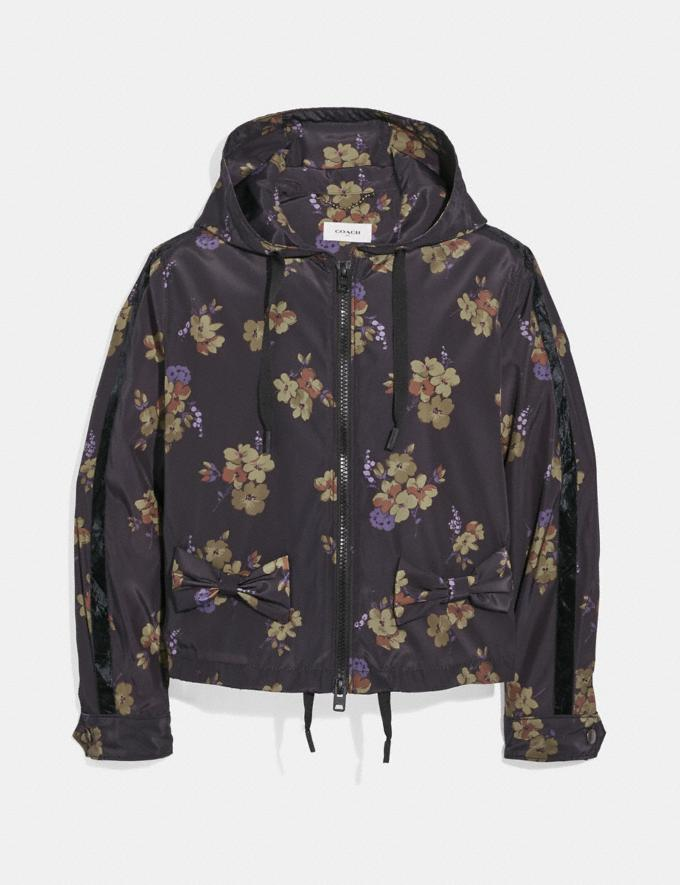Coach Forest Floral Print Zip Hoodie Black/Green