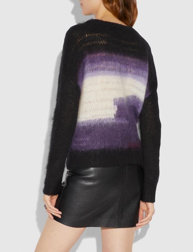 Coach Tie Dye Oversized Crew Neck Sweater Black Women Ready-to-Wear Tops Alternate View 2