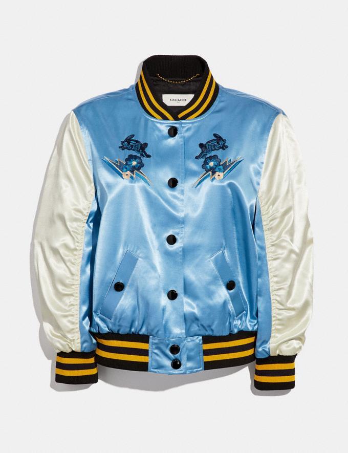 Coach Arizona Varsity Souvenir Jacket Blue Women Ready-to-Wear Coats & Jackets