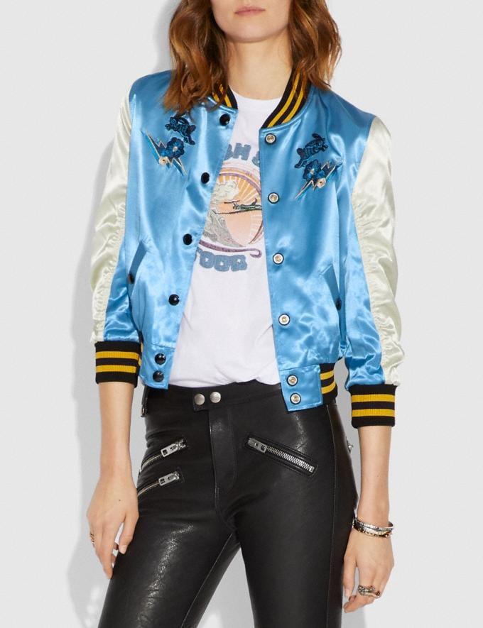 Coach Arizona Varsity Souvenir Jacket Blue Women Ready-to-Wear Coats & Jackets Alternate View 1