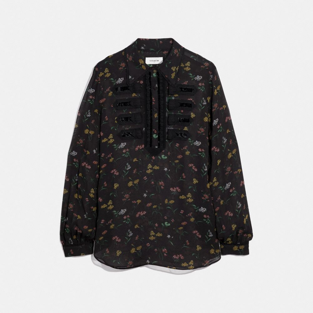 Wildflower Print Military Shirt in Black