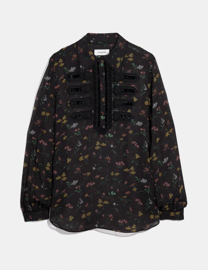 Coach Wildflower Print Military Shirt Black