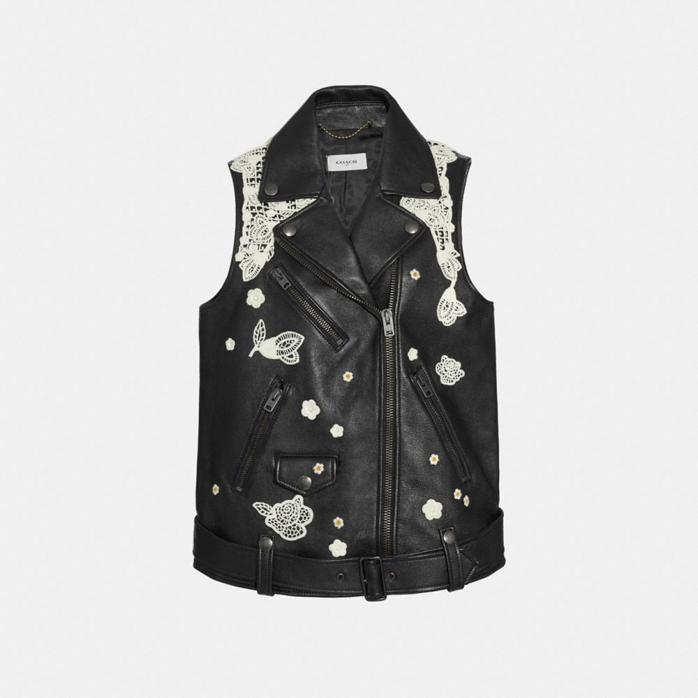 Coach Lace Embroidered Leather Vest