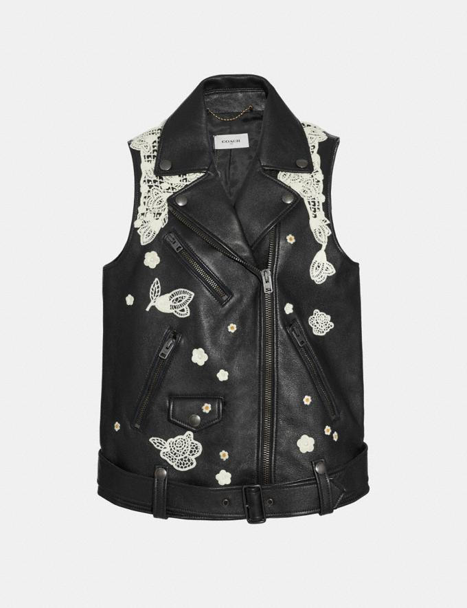 Coach Lace Embroidered Leather Vest Black