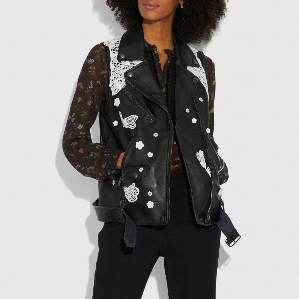 Coach Lace Embroidered Leather Vest Alternate View 1