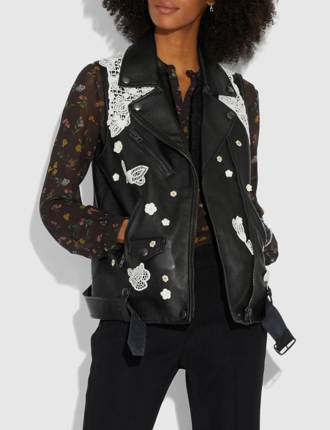 Coach Lace Embroidered Leather Vest Black  Alternate View 1