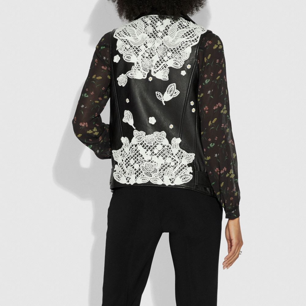 Coach Lace Embroidered Leather Vest Alternate View 2
