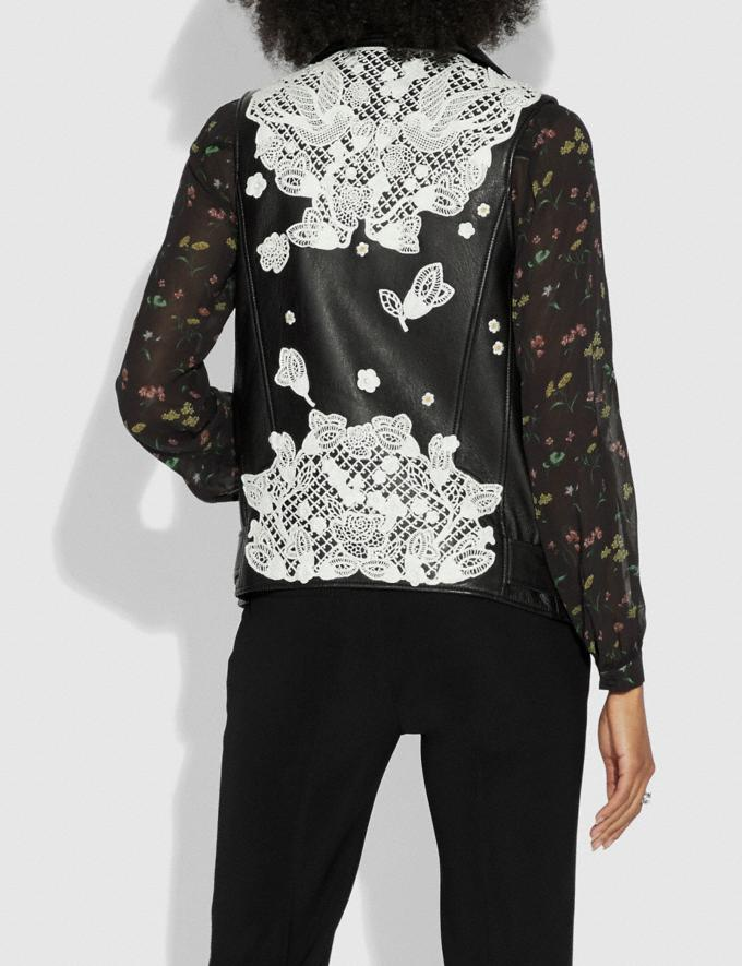 Coach Lace Embroidered Leather Vest Black  Alternate View 2