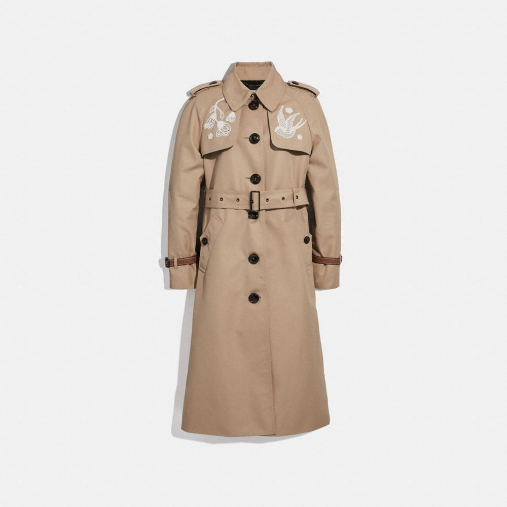 Coach Lace Embroidered Leather Trench Coat